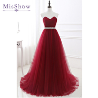 2019 Cheap Real Photos Long Red Tulle Dress Women Elegant Formal Evening Dresses China Vestido Longo Sexy Occasion party gowns