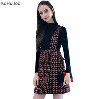 KoHuiJooo Autumn Winter 2 Pieces Dress Set Women Fashion Turtleneck Sweeater+Tweed Tank Dress Suit Sets Two Piece