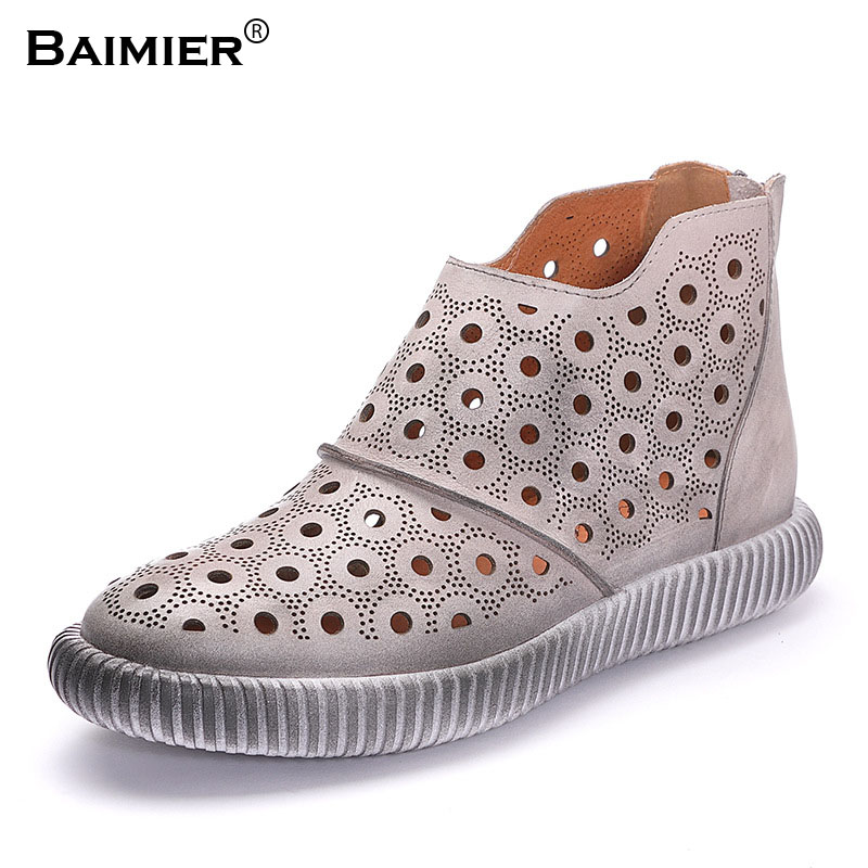 New 2018 Brand New Genuine Leather Shoes Women Summer Boots Zipper Closed Fashion Mesh Hole Breathable Comfortable Ankle Boots mvvjke 2018 spring summer new bow genuine leather women boots hollow mesh ankle boots comfortable low heels fashion shoes