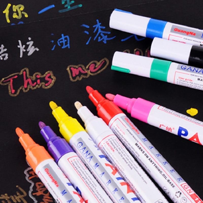 Marcado de pintura pluma Base de Aceite Universal caligrafía Permanente Marcadores neumático de coche