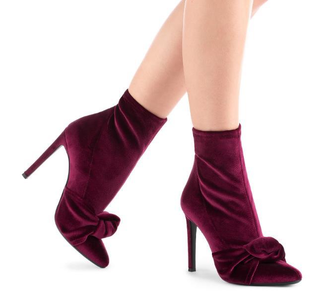Mode papillon noeud bottines femme en cuir troupeau bout rond pour les femmes printemps avec talons hauts dames chaussure taille 34-45
