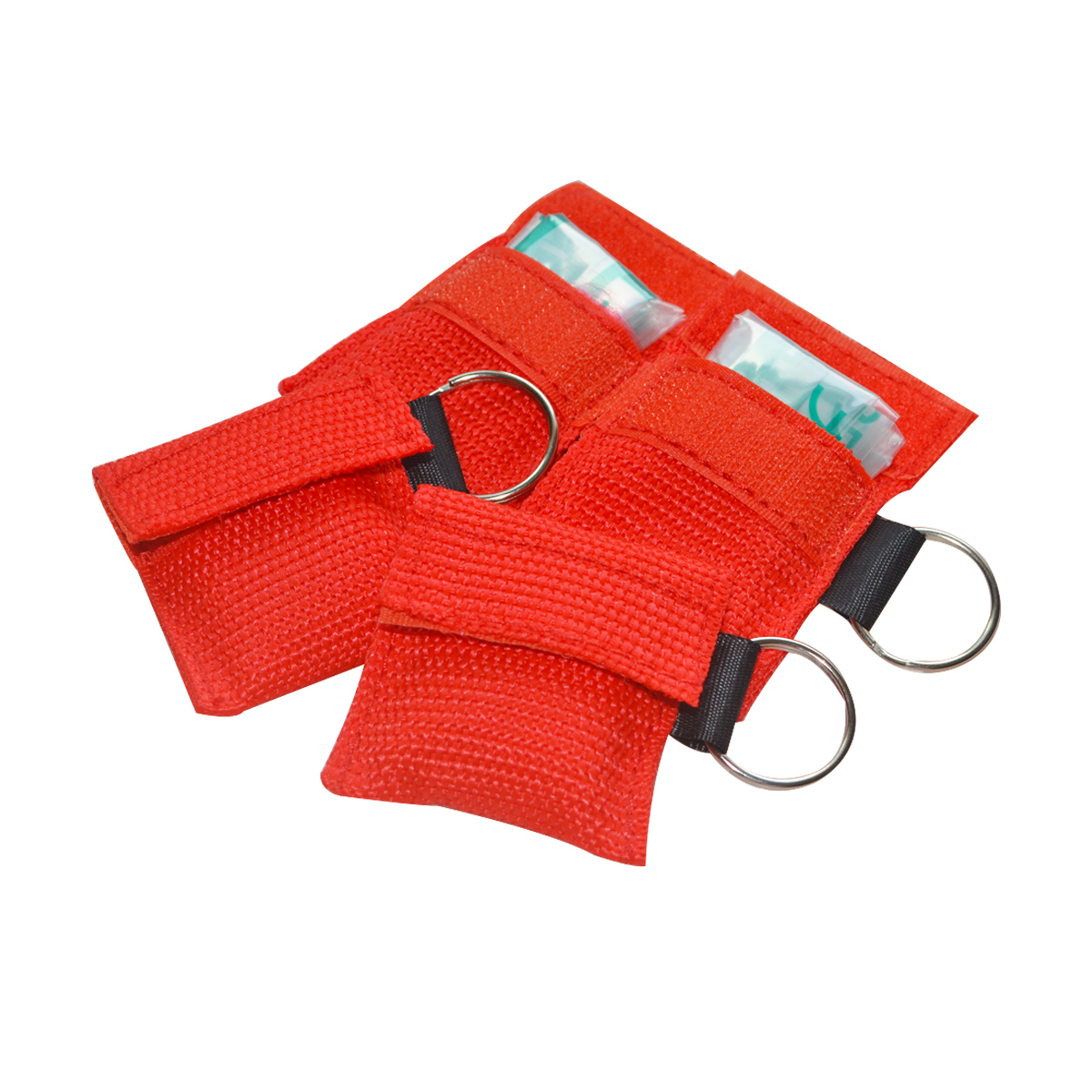 100pcs CPR Resuscitator Mask With Keychain Red Woven Bag First Aid Face Shield Artificial Respiration Barrier