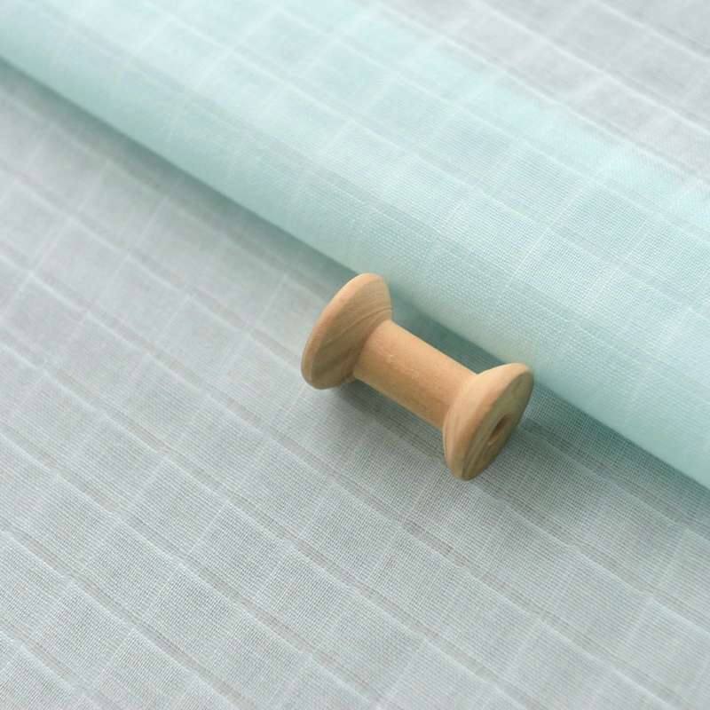 Childrens Mint Green Checked Cotton Gauze Baby Fabric