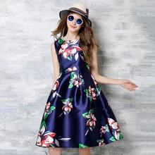Summer Dresses Feminino 2018 O-Neck Floral Printed Vestido de Festa High Waist Sleeveless Women's Clothing Blue A-Line Robe N618