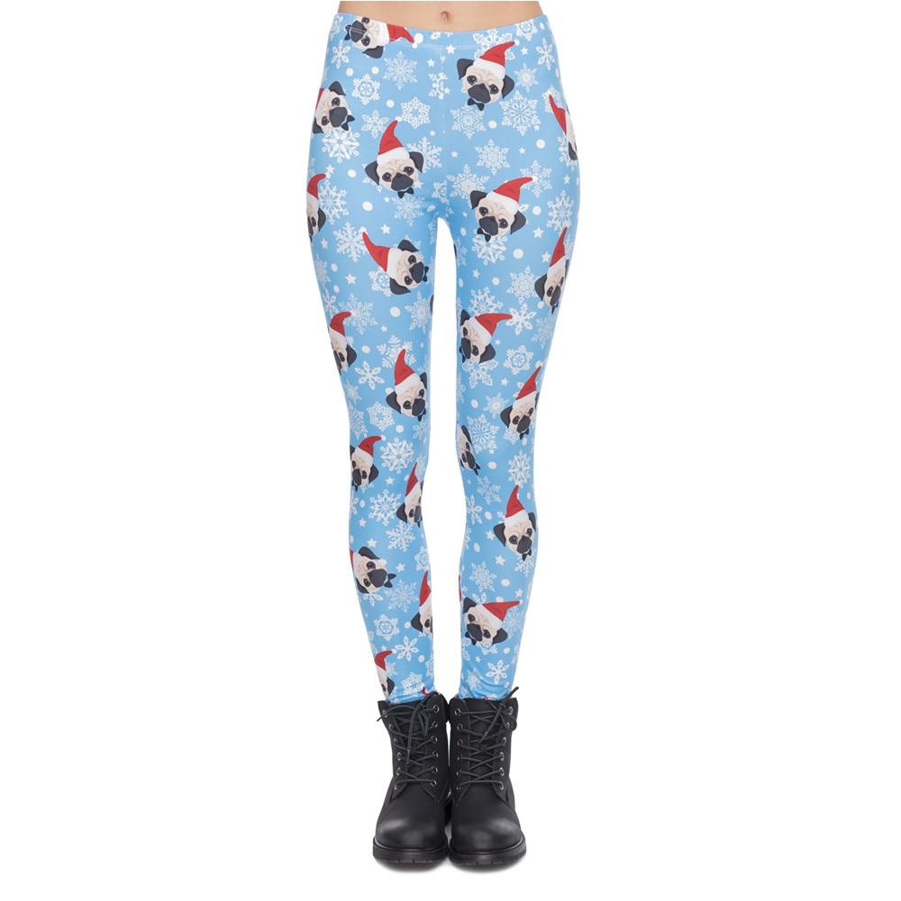 High Elasticity Women Legging Santa Pug Printing Blue Fitness Leggings Christmas High Waist Woman Pants