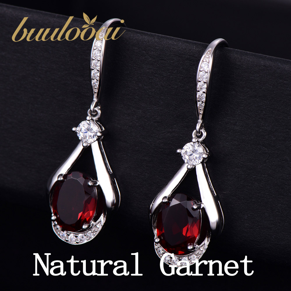 buulooai Natural Garnet Drop Earrings 925 Sterling Silver New Fashion Earrings For Women Wedding Jewelry