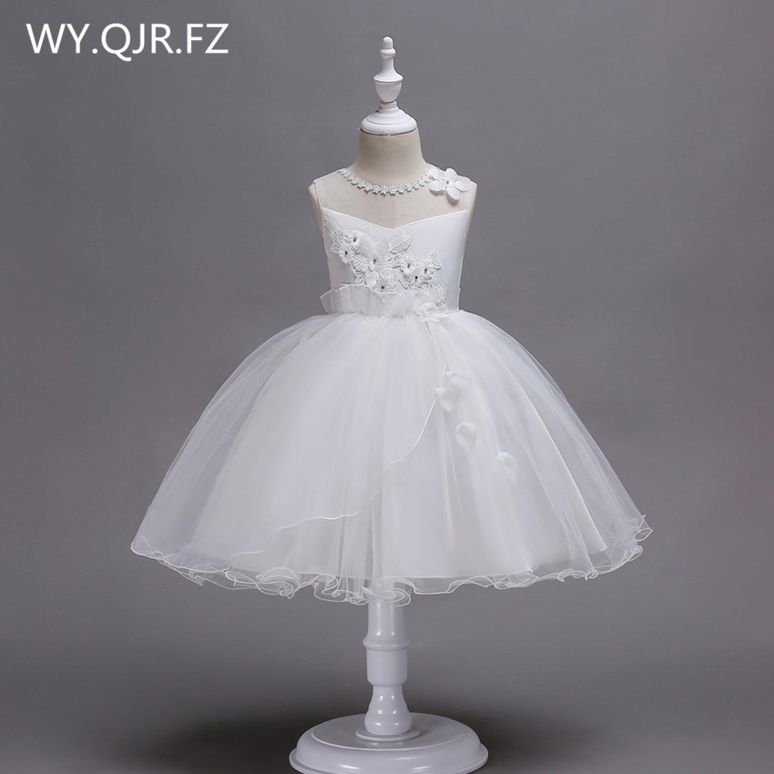 PTH-BH02#Ball Gown White Rose   Flower     girl     dresses   lace Children's performance   dress   Small host costumes garments wholesale