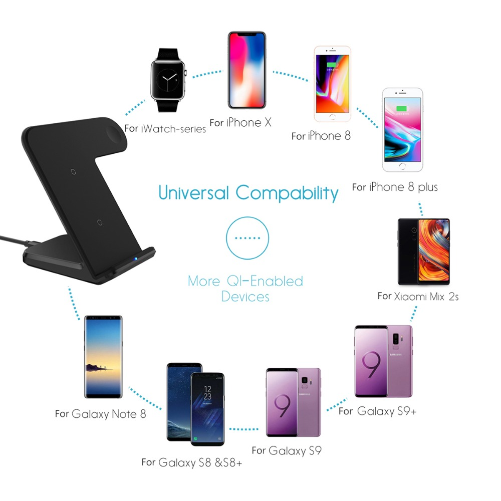 DCAE 2 in 1 Wireless Charger for apple i watch 1 2 3 4 5 USB C Fast Wireless Charging for iphone 11 XS MAX XR X 8 Samsung S10 S9