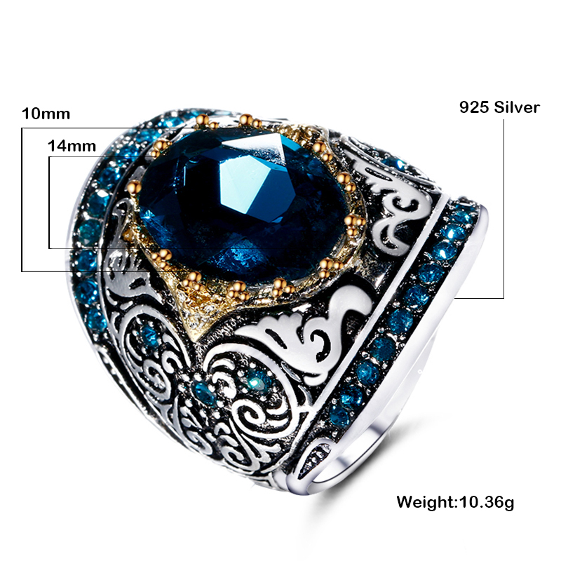 HTB1 3g5aiLrK1Rjy1zdq6ynnpXaM Silver Fashion Jewelry Rings For Men Women's 925 Sterling Silver Rings 10X14MM Big Blue Gemstone Ring Anniversary Party Gifts