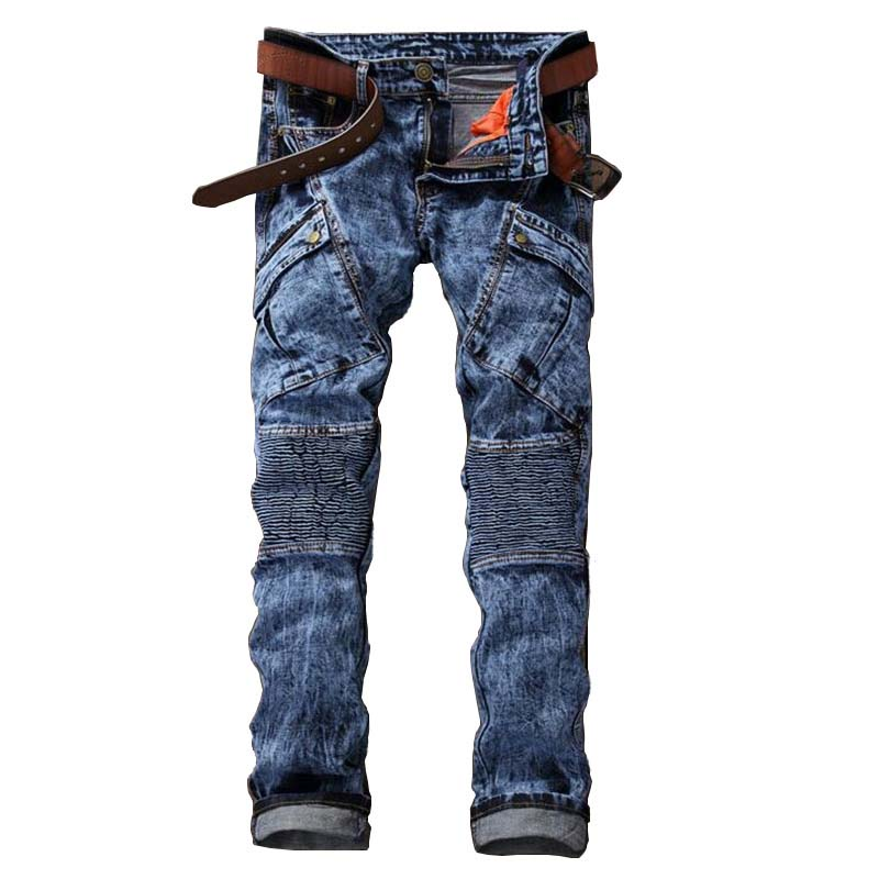 Mcikkny 2019 Hi street Men's Denim Jeans Motorcycle Slim Fit Casual Washed Jeans Pants Male Fashion Trousers