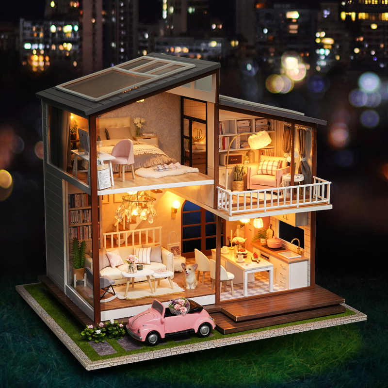 Big Doll House DIY Miniature Dollhouse Large Wooden House Mini Cottage Casa Wood Toys for Children Girls Gift Christmas Toys