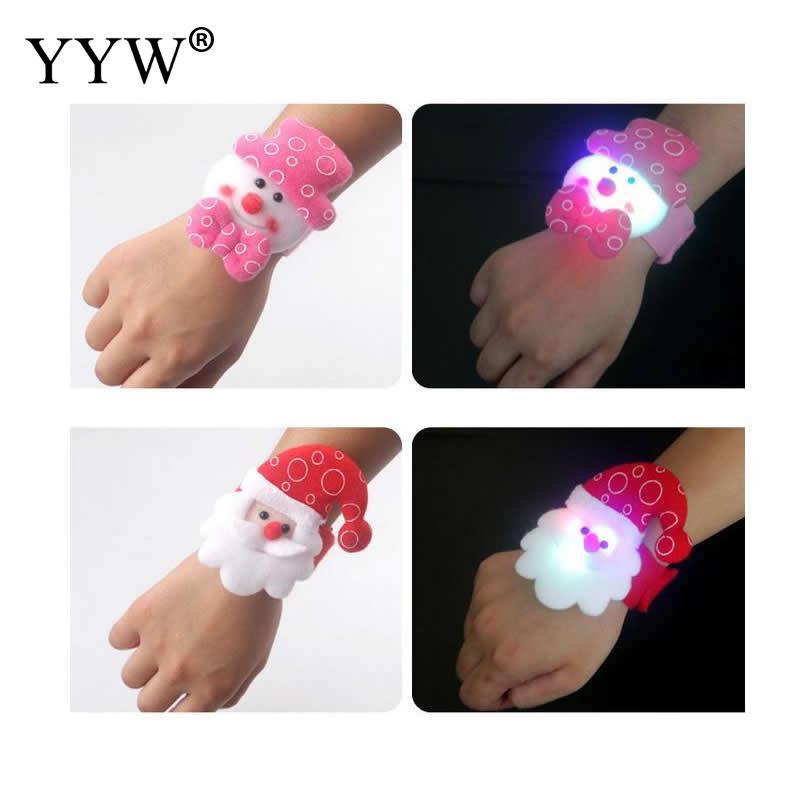 YYW 10Pcs/Lot Christmas Bracelet With Led Light For Children Trendy Velveteen Christmas Slap Bracelet Children Chirstmas Gift