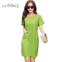 2017 Summer Women Patchwork Cotton Linen Dresses Short Sleeve Loose Knee-Length Vintage Female Dress  Fashion Arts Style Vestido