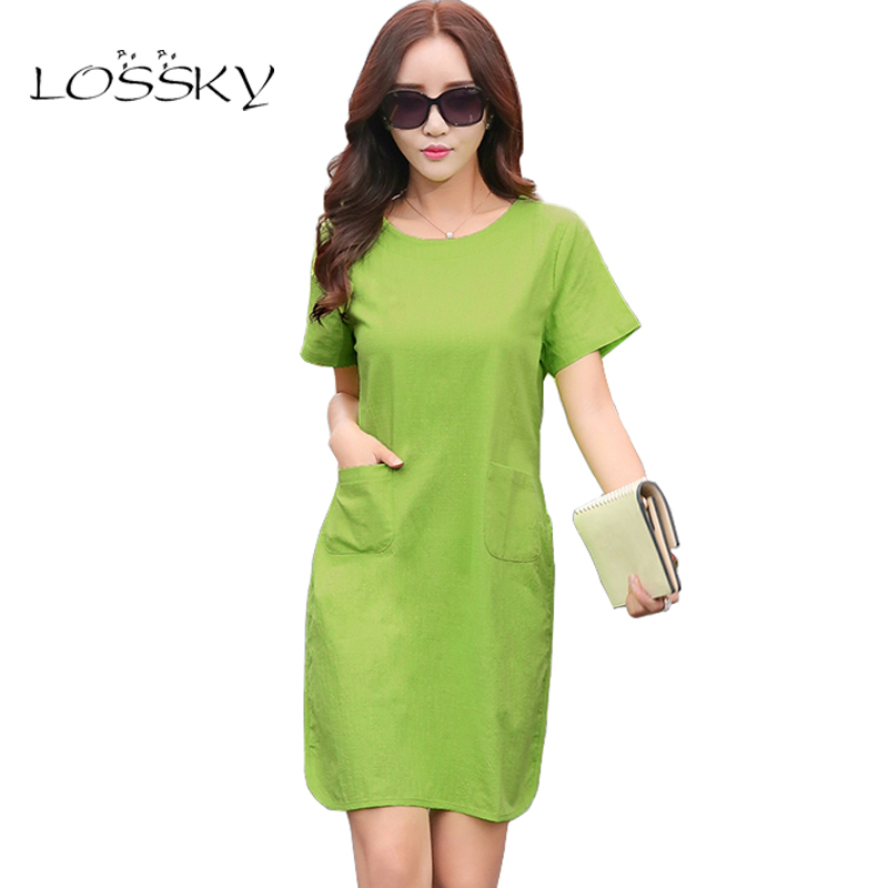 Women Cotton Linen Dresses Short Sleeve Loose Female Dress 2018 Summer  New Fashion Ladies Clothing Vestidos