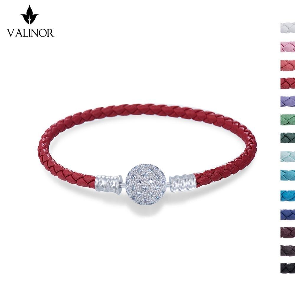 12 cores disponíveis Couro pulseira com ziguezague rodada fivela embutidos com zircão 925 Prata Esterlina Pulseiras BZSL007