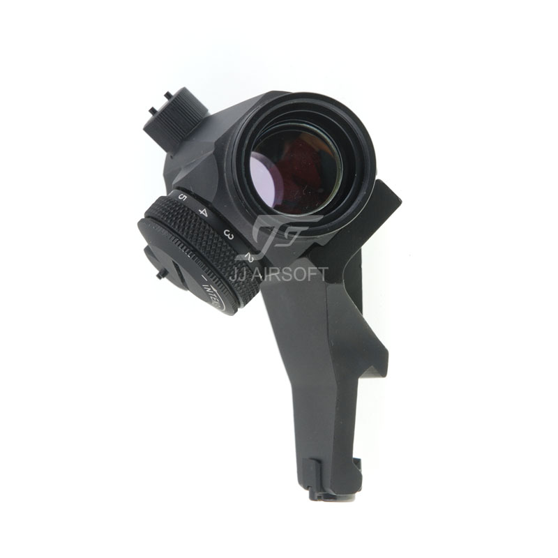 JJ Airsoft Micro 1x24 Red Dot with 45 Degree Offset Mount (Black) jj airsoft t1 t 1 red dot 45 degree offset mount qd mount and low mount tan