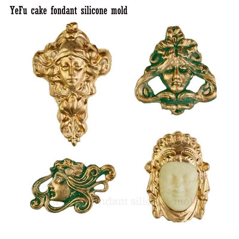 Bricolage Vintage Art Nouveau visages masque Fondant gâteau moules chocolat moules Figure silicone moule dessin animé Figre/gâteau outils F0931