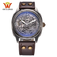 2017 OYW Brand Vintage Self Wind Automatic Men Mechanical Watch Leather Strap Skeleton Dial Antique Bronze Retro Wristwatch Gift