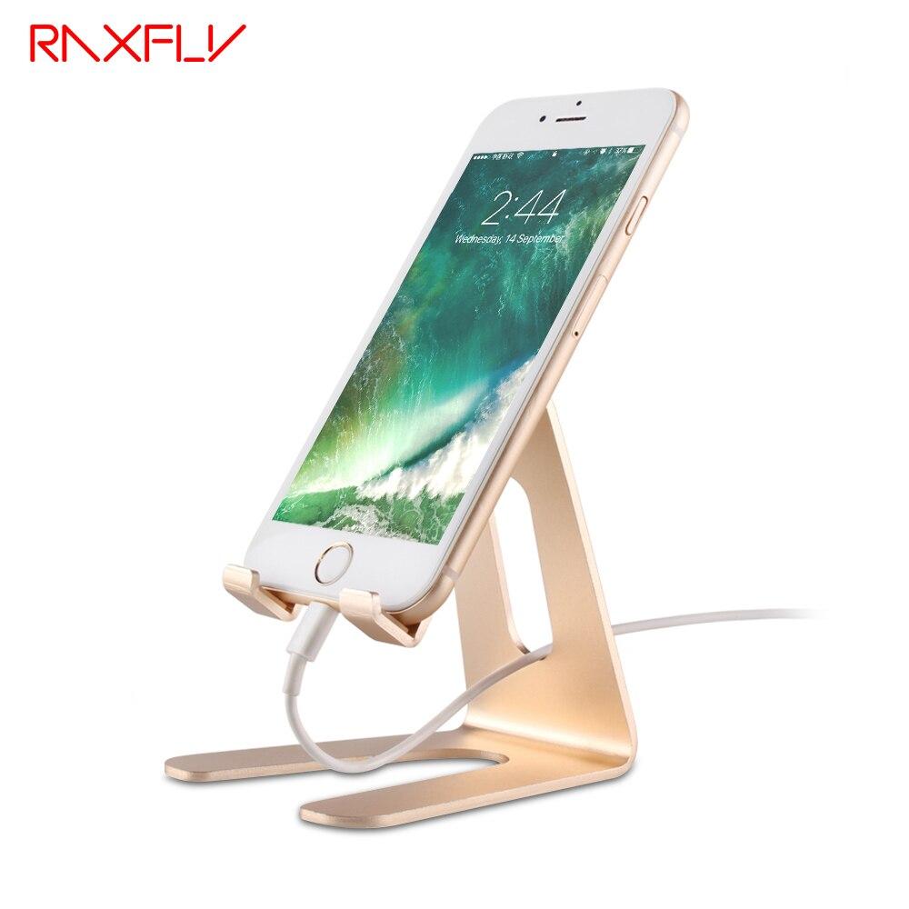 Raxfly teléfono tableta soporte titular del escritorio para el iPhone x 8 6 6 s más metal titular del teléfono para Samsung Galaxy s8 S7 S6 borde Accesorios