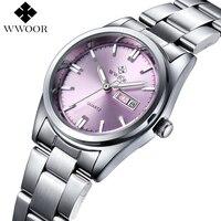 Top Brand Women Watches WWOOR Day Date Clock Luxury Stainless Steel Business Quartz Ladies Wrist Watch