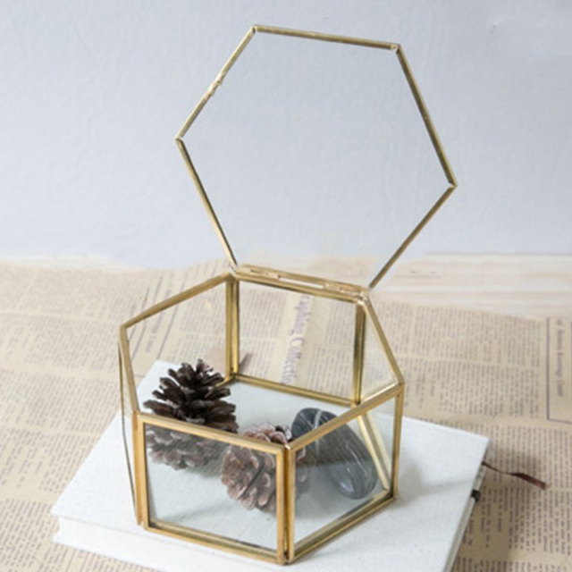 Geometric Clear Glass Jewelry Box Jewelry Organizer Holder Tabletop Succulent Plants Container Home Jewelry Storage