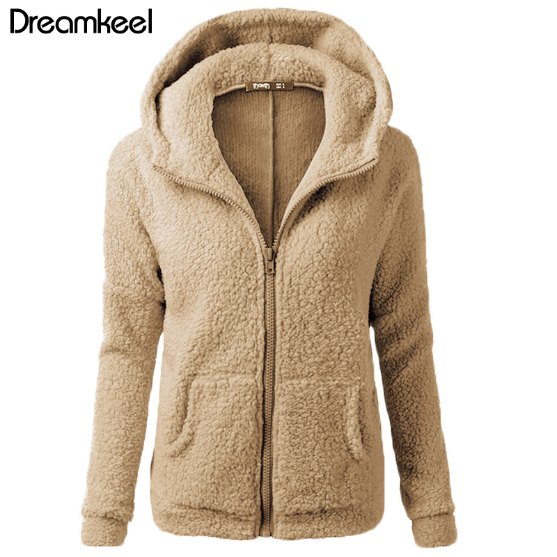 HTB1 3gmaLfsK1RjSszgq6yXzpXaS Solid Color Coat Women Thicken Soft Fleece Fashion Casual Outwear Coat Winter Autumn Warm Jacket Hooded Zipper Overcoat Female Y