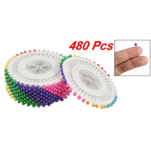 Practical 480 Pcs Needlework Assorted Color Faux Pearl Head Sewing Corsage Pins