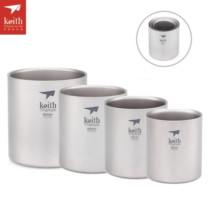 Keith 220ml-600ml 4pcs/set Double Wall Titanium Cup Set Lightweight Water Mug Camping Drinkware Insulated Camping Cups Ti3501 keith ks813 double wall titanium water cup mug silver grey 220ml