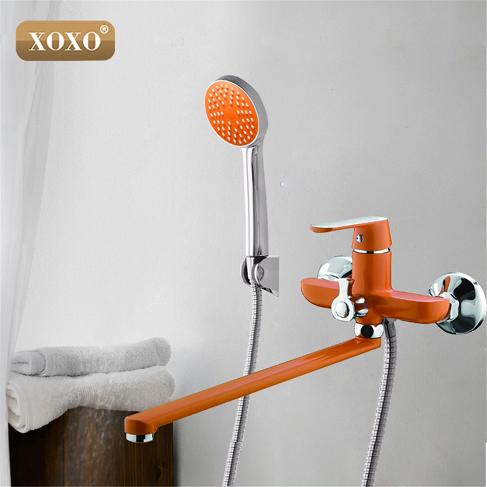 XOXO Outlet Pipe Bath Shower Faucet Brass Body Surface Spray Painting Green Shower  20020R/20030GR/20010W