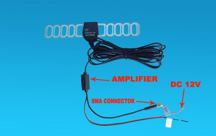 5 м автомобильный ISDB-T DVB-T T2 цифровой ТВ Активная антенна мобильный авто антенна с SMA разъемом, усилитель для автомобиля dvd-плеер gps