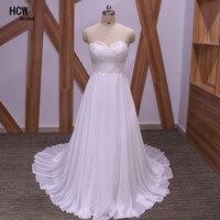 Simple Chiffon Lace Bridal Wedding Dress 2017 Cheap Sweetheart Lace Up Back A Line Beach Wedding