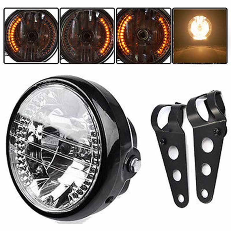 JX LCLYL Universal 7 Motorcycle Headlight LED Turn Signal Light+Mount Bracket Black