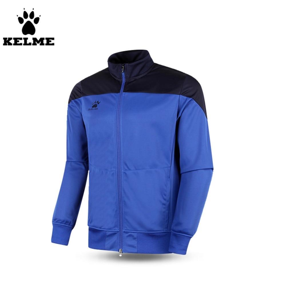 ФОТО Kelme K15Z302 Men's Long Sleeve Stand Collar Warm Football Training Jacket Blue