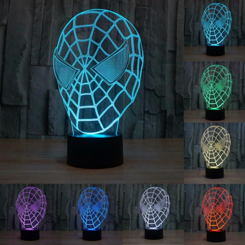 creatieve spiderman masker 7 kleuren veranderen cartoon tafellamp acryl led novelty verlichting creatieve 3d illusion lamp iy803392
