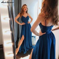 Sexy Spaghetti Straps Formal Party Gowns with Split Lace Bodice A Line Blue Chiffon Long Prom Dress vestido formatura