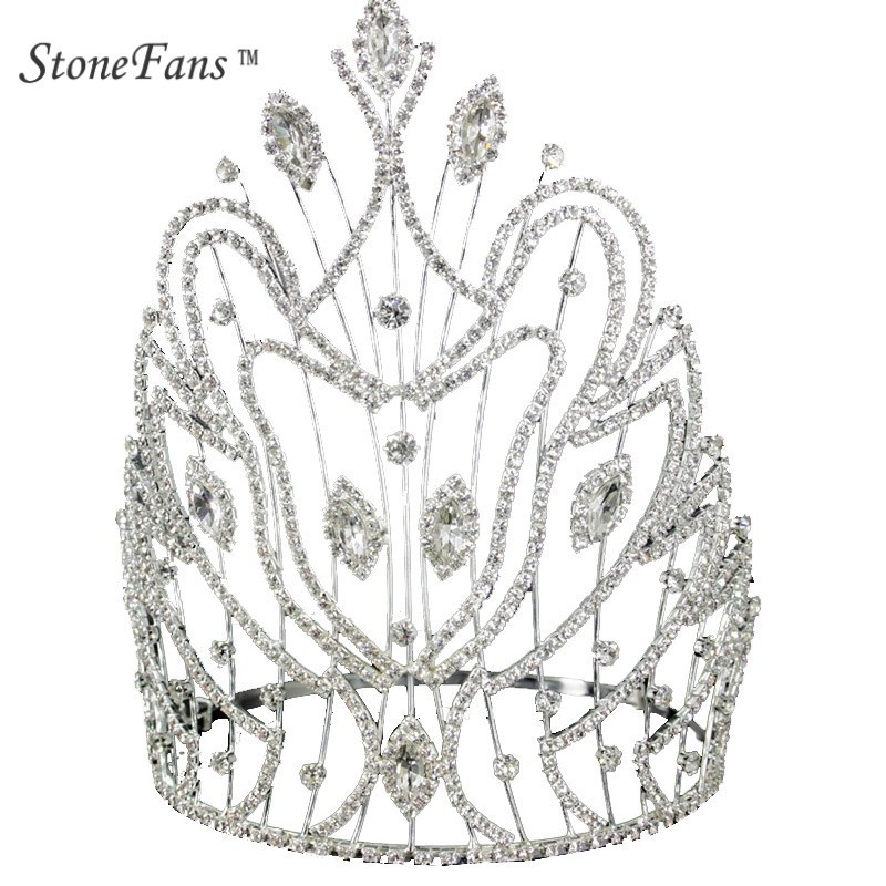StoneFans Quality Luxury Crystal Bride Crown Silver Crown Wedding Hair Jewelry Ornaments Annual Meeting Props Festival Jewellery