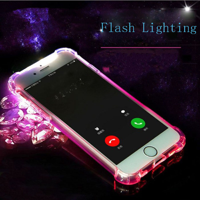 newest 107d0 46c0b US $1.89 5% OFF|LED Flash Phone case Soft TPU Flash Lighting UP Mobile  Phone Cover for iPhone X SE 5 5S 6 6S 7 8 Plus Remind Incoming Call  Light-in ...