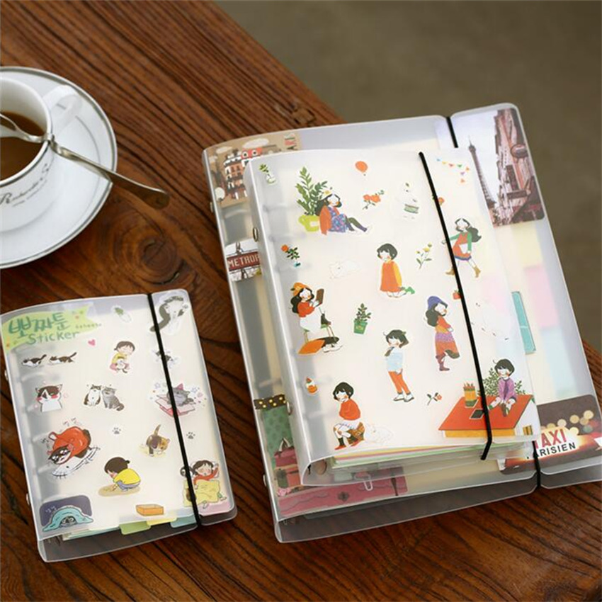 A5/A6/A7 PVC Notebook Spiral Cover For 6 Holes Binder Planner Cover Sheet Shell Transparent Concise Office School Stationery
