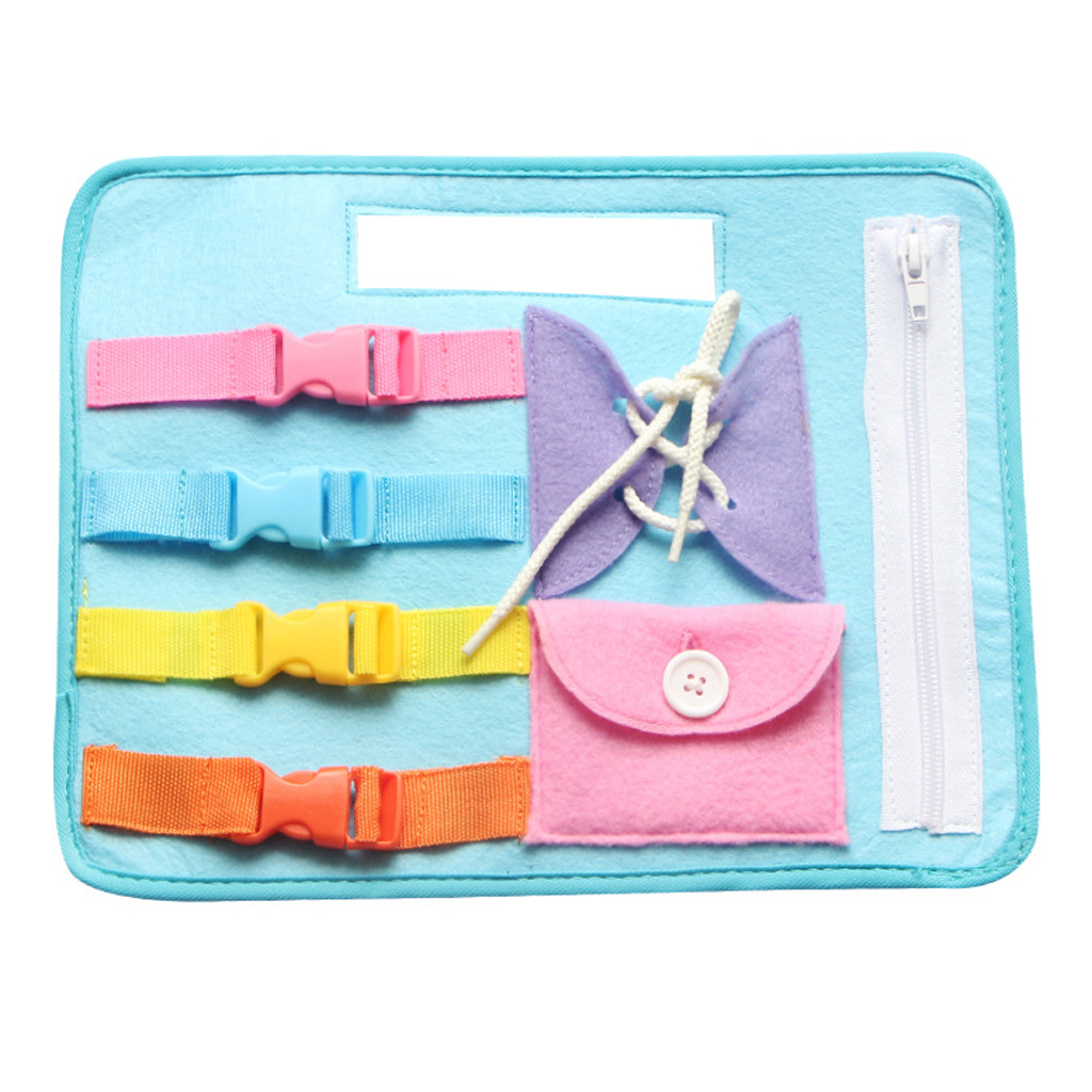 Learn to Zip Button Snap Buckle Tie Lace Plate Early Learning Educational Toy Basic Skill Teaching Tool Threading Shoes Set