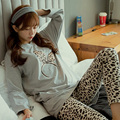 New fashion Spring winter Leisure long sleeved pants pajamas sets for womenTracksuit Floral cotton sleepwear home clothes