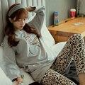 Nueva Primavera de la moda de invierno de Ocio pantalones de manga larga pijamas conjuntos para womenTracksuit Floral de algodón ropa de dormir ropa de hogar