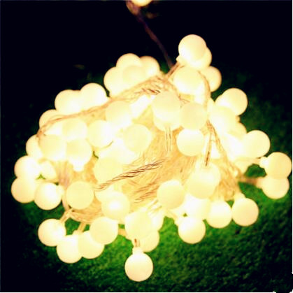 10M New Year Cutton Ball LED String Fairy Lights Outdoor Christams Garlands Decoration LED Cristmas Lights Luces De Navidad