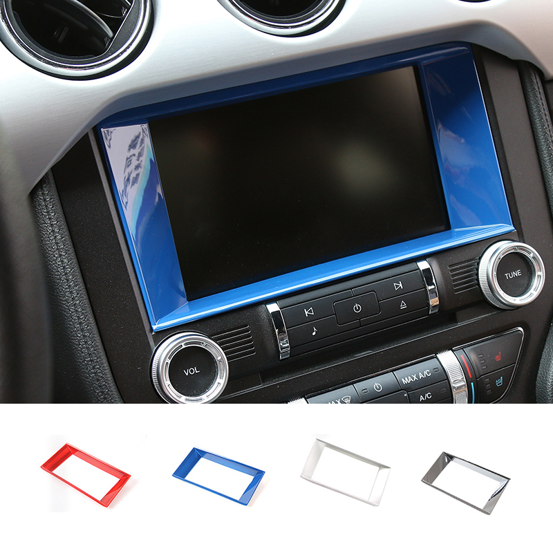 SHINEKA Car Styling GPS Panel Cover Navigation Screen Frame Media Screen Cover for Ford Mustang 2015+