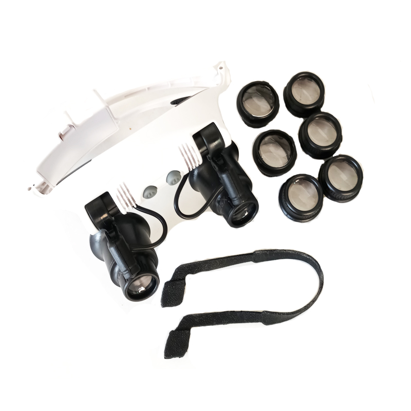 <font><b>2</b></font> <font><b>LED</b></font> headband magnifying glasses type Binocular <font><b>Magnifier</b></font> <font><b>10x</b></font> <font><b>15x</b></font> <font><b>20x</b></font> <font><b>25x</b></font> FOR <font><b>Watch</b></font> Clock PCB <font><b>repair</b></font> <font><b>Repair</b></font> image