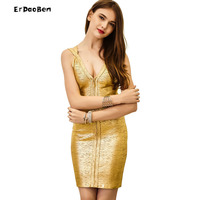 High Quality Autumn Winter Sexy V Neck Bandage Party Gold Mini Party Dress DR648