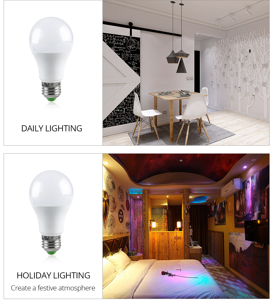 Magic RGB LED Light Bulb GU10 E27 AC85-265V Smart Lighting Lamp Color Change Dimmable With IR Remote Controller 5W 10W 15W Light (4)
