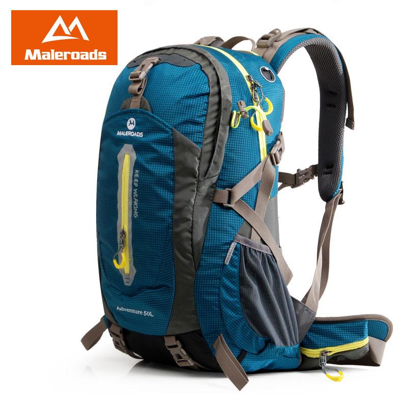 Maleroads Camping Backpack Ерлерге арналған жаяу рюкзактар Wowen Travel Rucksack Climb Gear Trekking Bagpack Су өткізбейтін Спорттық сөмке 50L