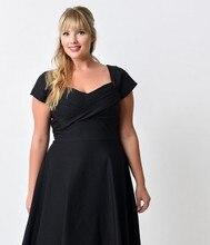 Elegant Summer Vintage Dresses For Women 2018 Plus Size Off Shoulder Mermaid Midi Black Dress Robe Moulant Femme