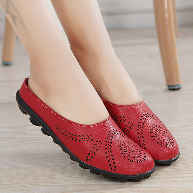 Women Flats Breathable Summer Genuine Leather Shoes Women Casual Slip On Loafers Plus Size 44 Mocassin Femme Nurse Flat Shoes