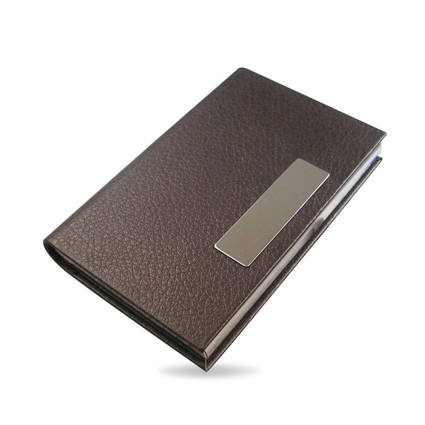 Horizontal Litchi Pattern Leather Business Name Card Holder Case ...